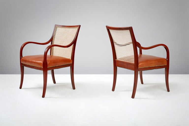 Frits Henningsen Mahogany Armchairs, circa 1940 In Good Condition For Sale In London, GB