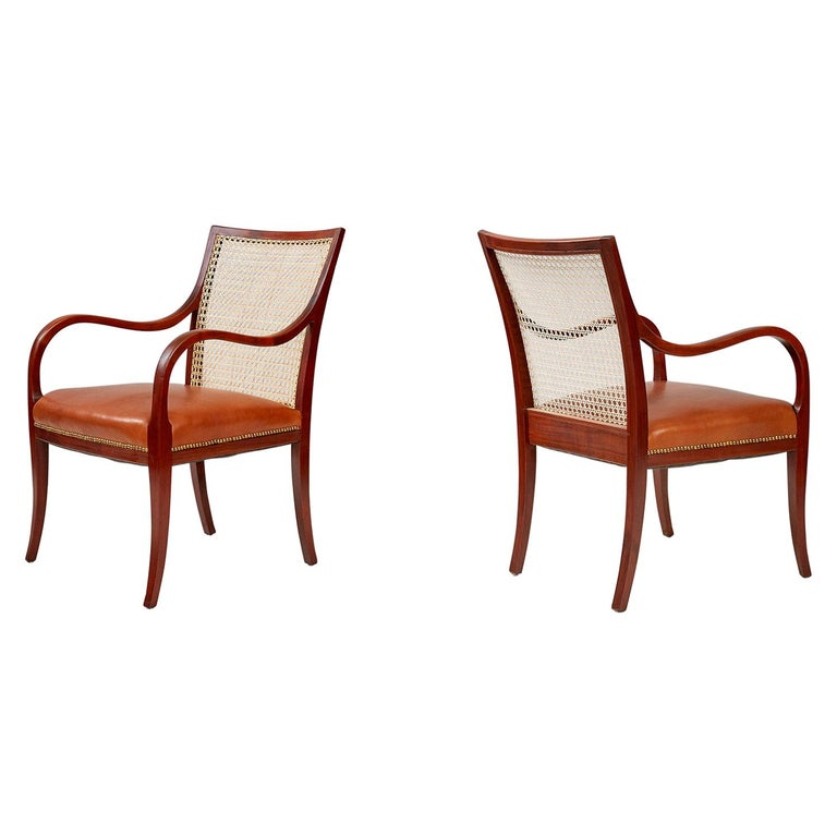 Frits Henningsen Mahogany Armchairs, circa 1940 For Sale