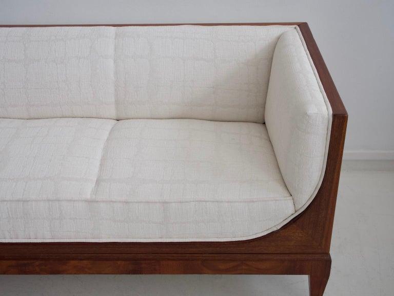 Danish Frits Henningsen Mahogany Sofa with White Fabric Upholstery For Sale