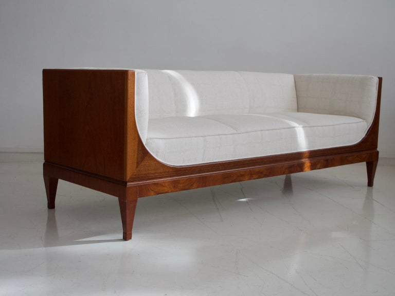 Frits Henningsen Mahogany Sofa with White Fabric Upholstery For Sale 1