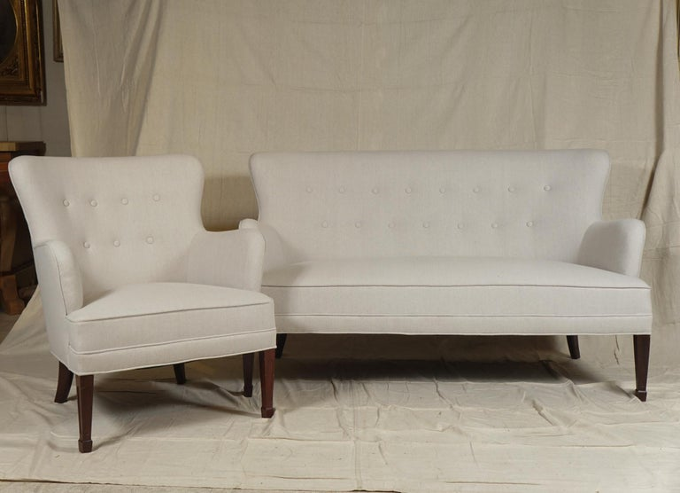 Scandinavian Modern Frits Henningsen Pair of Armchairs and Settee For Sale