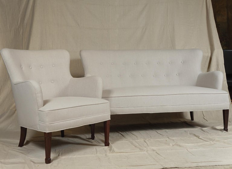 Danish Frits Henningsen Pair of Armchairs and Settee For Sale