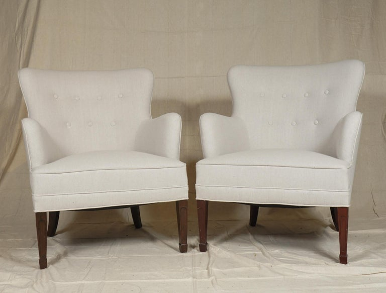 Beech Frits Henningsen Pair of Armchairs and Settee For Sale