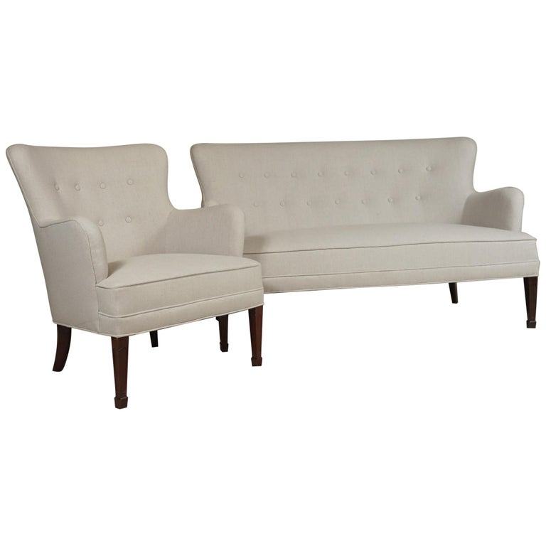 Frits Henningsen Pair of Armchairs and Settee For Sale