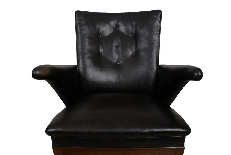 Frits Henningsen Pair of Easy Chairs in Cuban Mahogany and Leather, 1932 For Sale 4