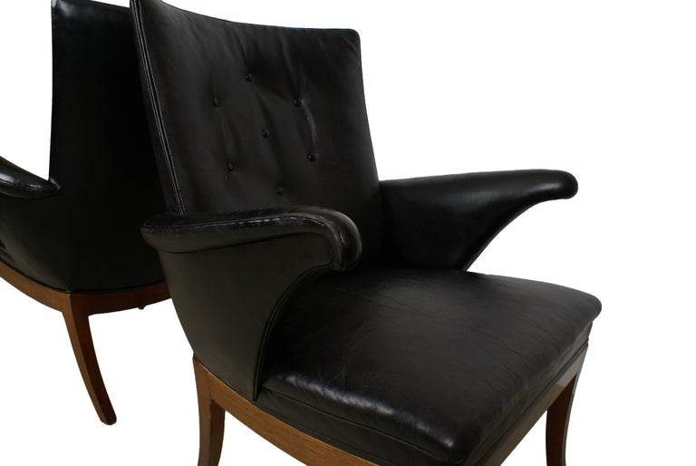 Frits Henningsen Pair of Easy Chairs in Cuban Mahogany and Leather, 1932 For Sale 5