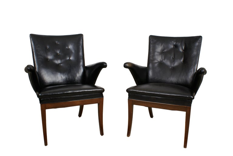 Frits Henningsen Pair of Easy Chairs in Cuban Mahogany and Leather, 1932 For Sale 6