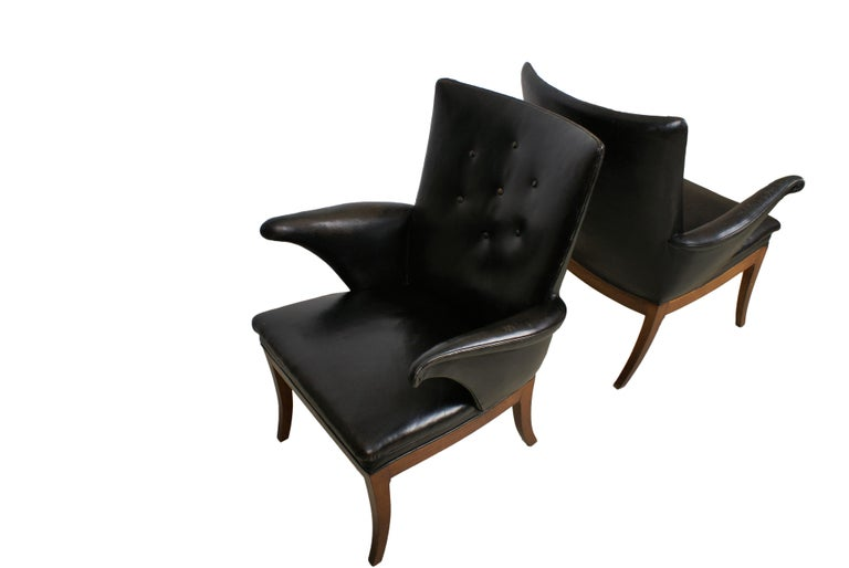 Danish Frits Henningsen Pair of Easy Chairs in Cuban Mahogany and Leather, 1932 For Sale
