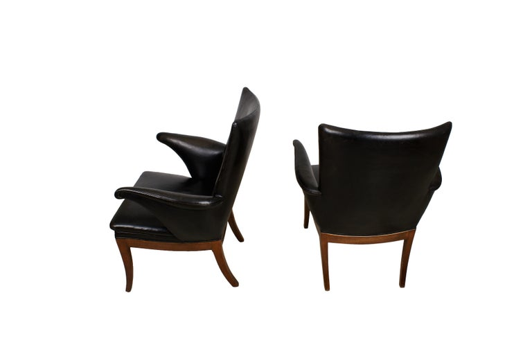 Frits Henningsen Pair of Easy Chairs in Cuban Mahogany and Leather, 1932 In Excellent Condition For Sale In Copenhagen, DK