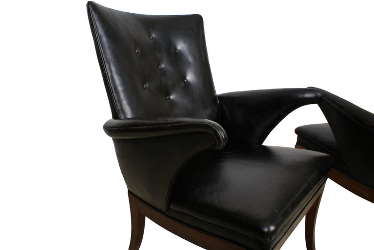 Frits Henningsen Pair of Easy Chairs in Cuban Mahogany and Leather, 1932 For Sale 2