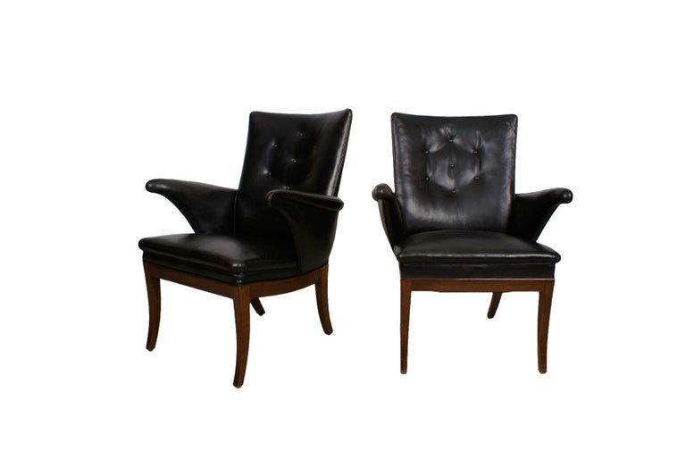 Frits Henningsen Pair of Easy Chairs in Cuban Mahogany and Leather, 1932 For Sale 3