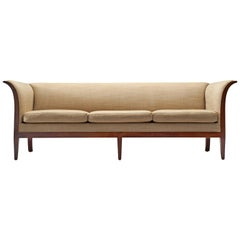 Frits Henningsen Sofa in Mahogany and Fabric