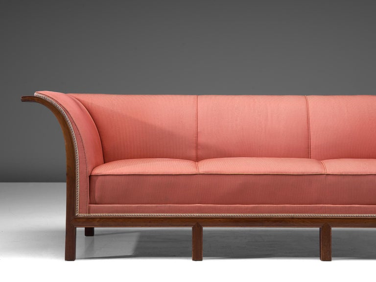 Danish Frits Henningsen Sofa in Mahogany and Pink Fabric For Sale