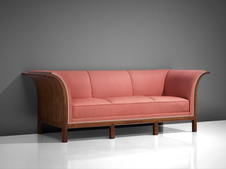 Frits Henningsen Sofa in Mahogany and Pink Fabric For Sale 1