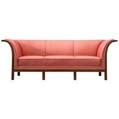 Frits Henningsen Sofa in Mahogany and Pink Fabric