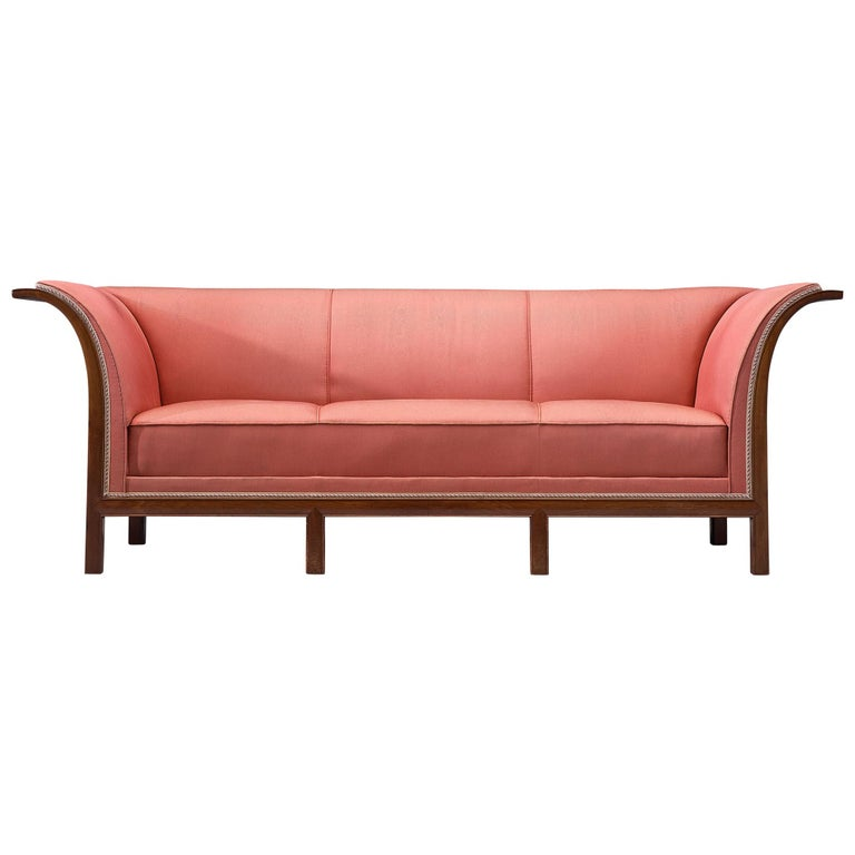 Frits Henningsen Sofa in Mahogany and Pink Fabric For Sale