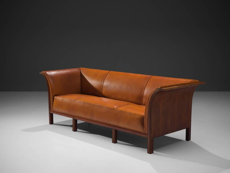 Mid-Century Modern Frits Henningsen Sofa in Teak and Cognac Leather, circa 1930 For Sale
