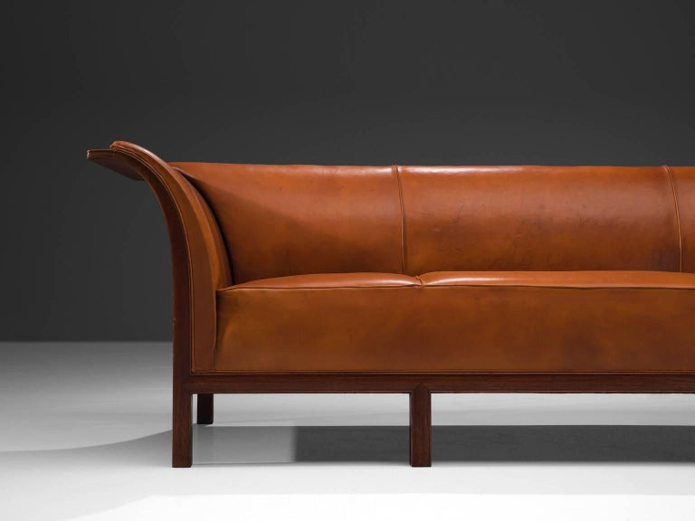 Danish Frits Henningsen Sofa in Teak and Cognac Leather, circa 1930 For Sale