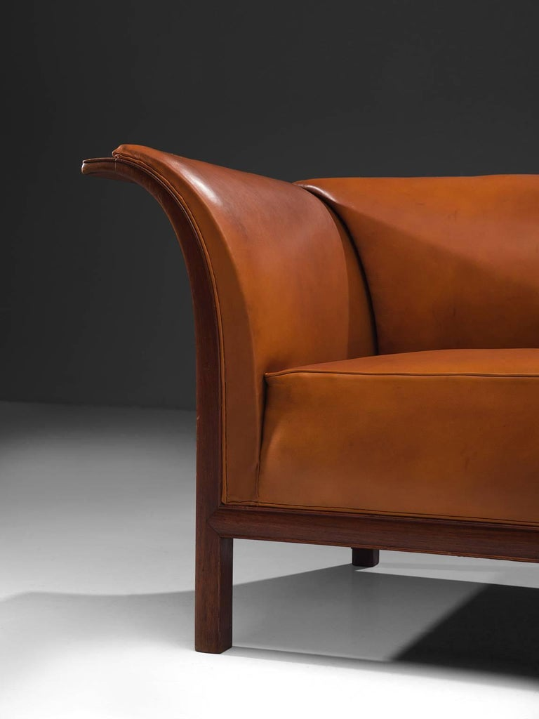 Patinated Frits Henningsen Sofa in Teak and Cognac Leather, circa 1930