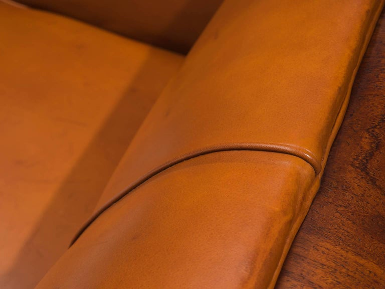 Mid-20th Century Frits Henningsen Sofa in Teak and Cognac Leather, circa 1930
