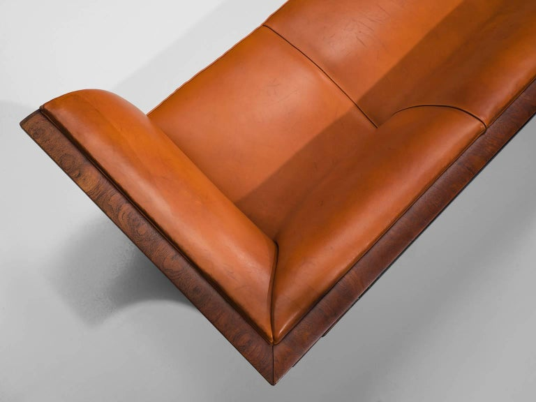 Wood Frits Henningsen Sofa in Teak and Cognac Leather, circa 1930