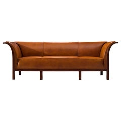 Frits Henningsen Sofa in Teak and Cognac Leather, circa 1930