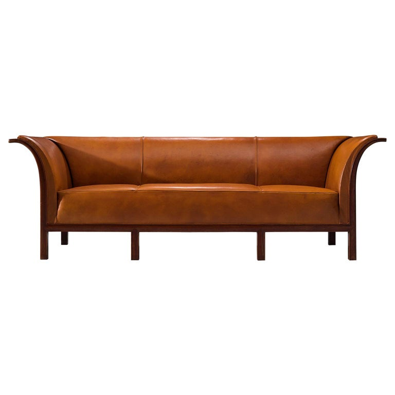Frits Henningsen Sofa in Teak and Cognac Leather, circa 1930 For Sale