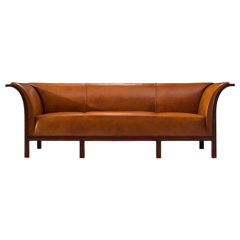 Frits Henningsen Sofa in Teak and Cognac Leather, circa 1930