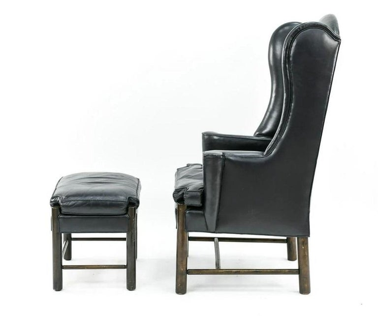Mid-Century Modern Frits Henningsen Style Leather Wingback Chair and Ottoman For Sale