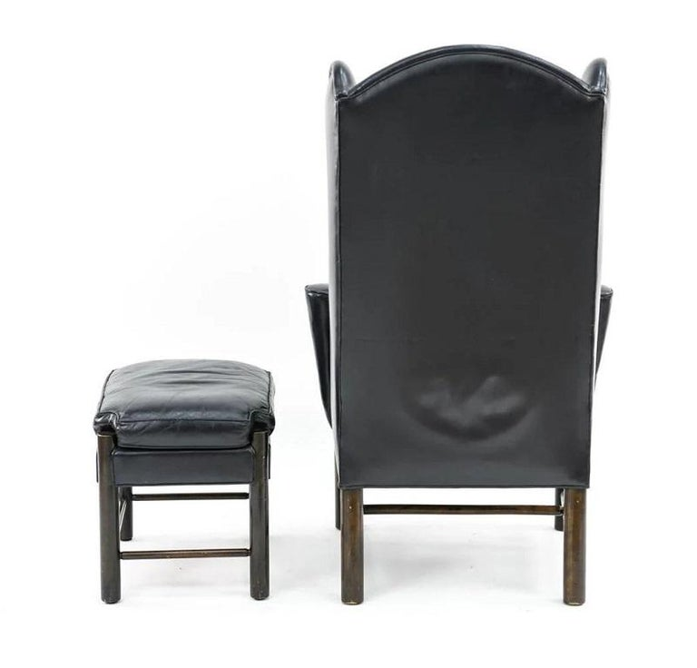 Unknown Frits Henningsen Style Leather Wingback Chair and Ottoman For Sale