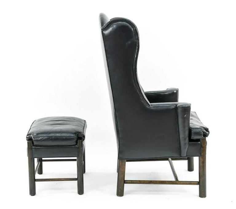 Frits Henningsen Style Leather Wingback Chair and Ottoman In Good Condition For Sale In New York, NY