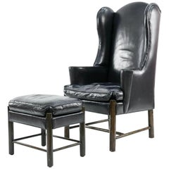 Frits Henningsen Style Leather Wingback Chair and Ottoman