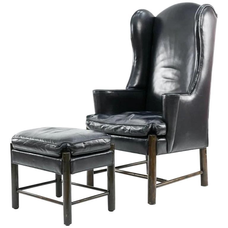 Frits Henningsen Style Leather Wingback Chair and Ottoman For Sale