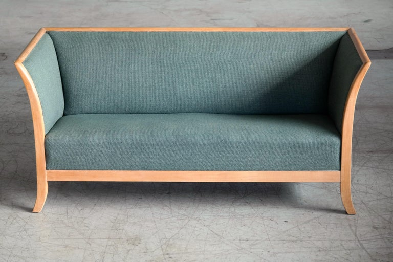 Danish Frits Henningsen Style Two-Seat Sofa in Oak by Søren Willadsen, Denmark, 1940s For Sale