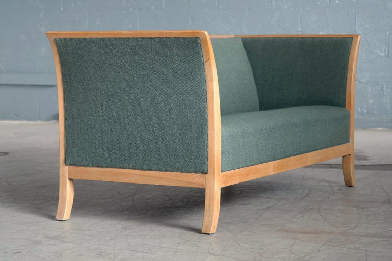 Wool Frits Henningsen Style Two-Seat Sofa in Oak by Søren Willadsen, Denmark, 1940s For Sale