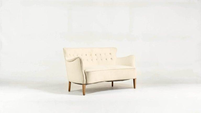 Art Deco Frits Henningsen, Unique Concave Sofa, Denmark, circa 1940 For Sale