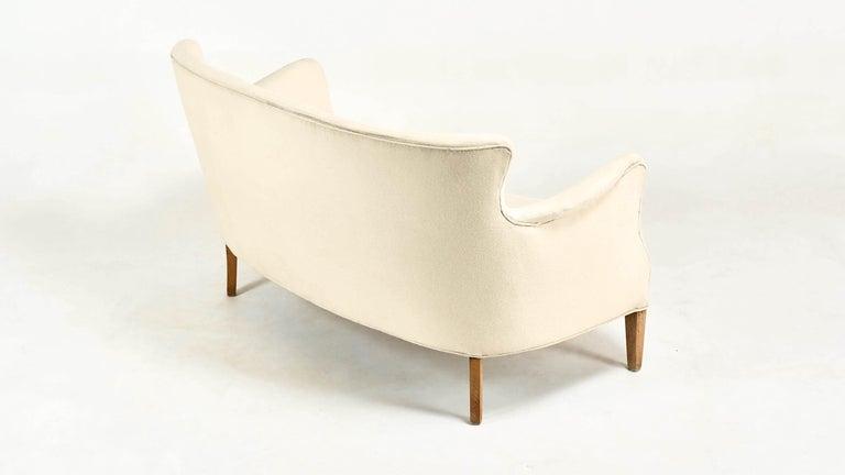 Fabric Frits Henningsen, Unique Concave Sofa, Denmark, circa 1940 For Sale