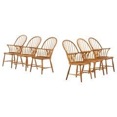 Frits Henningsen Windsor Dining Chairs Model CH 18A by Carl Hansen & Søn