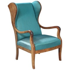 Frits Henningsen Wingback Armchair with Recent Turquoise Fabric, Denmark, 1940s