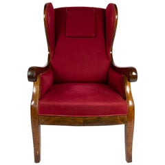 Frits Henningsen Wingback Armchair with Red Original Fabric, Denmark, 1940s