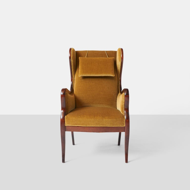 Scandinavian Modern Frits Henningsen Wingback Chair For Sale