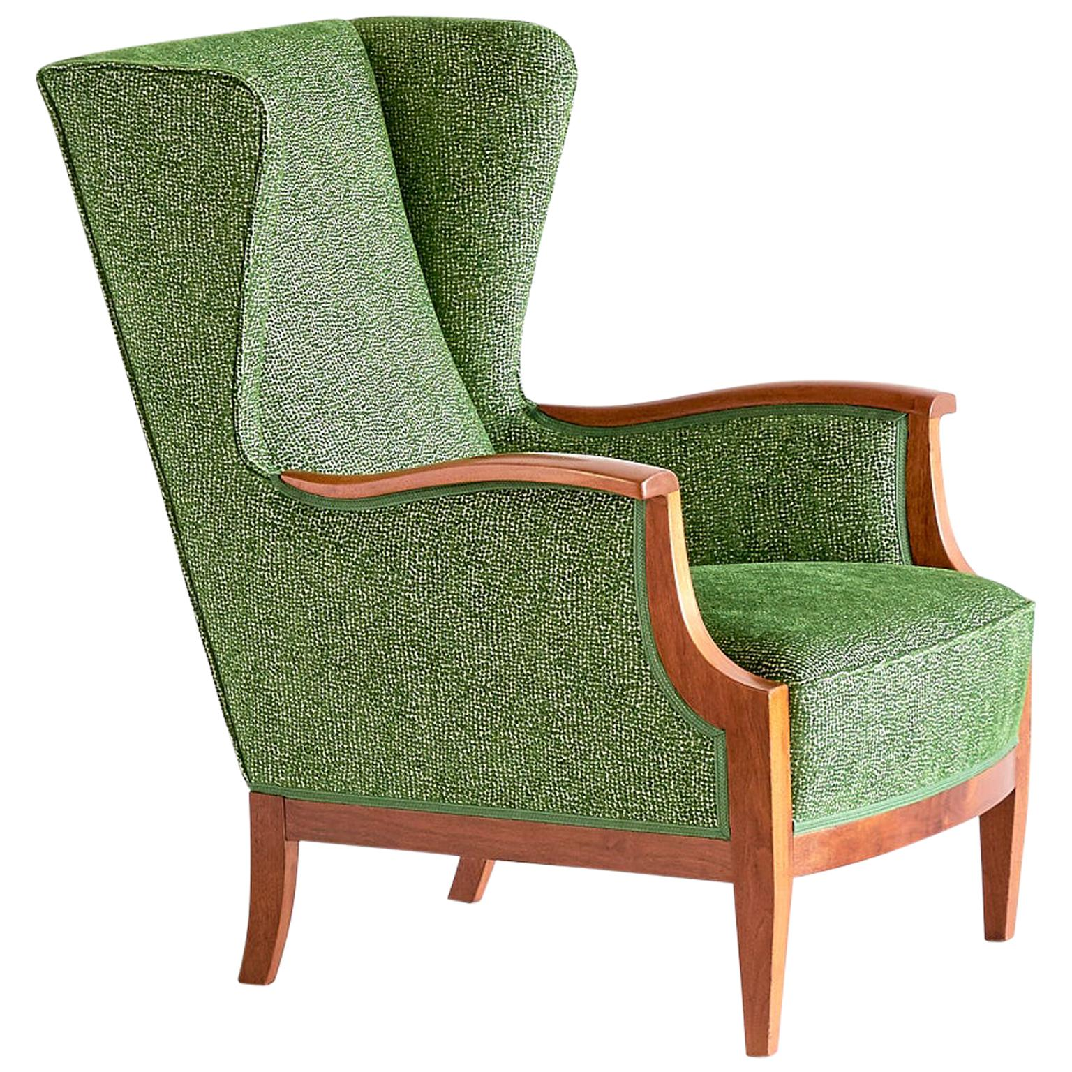 Frits Henningsen Wingback Chair in Mahogany and Green Rubelli Fabric, 1930s
