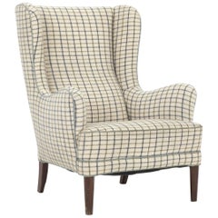 Frits Henningsen Wingback Chair with Legs of Mahogany