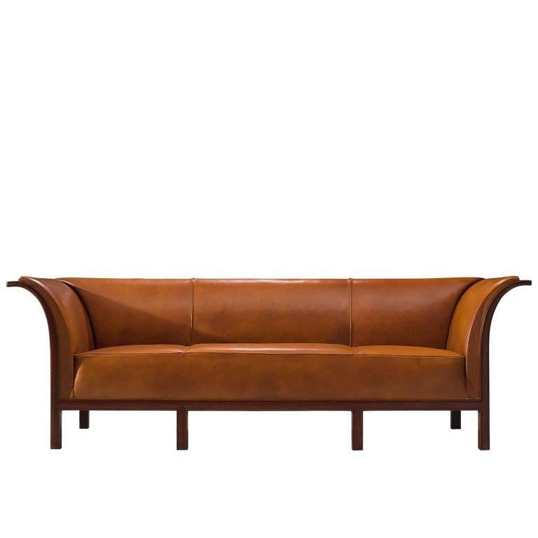 Frits Henningsen Sofa in Cuban Mahogany and Cognac Leather, ca. 1930