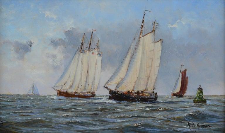 "Frits Johan Goosen Landscape Painting - ""Dutch Barges Racing"""