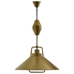 Frits Schlegel, Adjustable Pendant Light, Brass, for Lyfa, Denmark, 1967