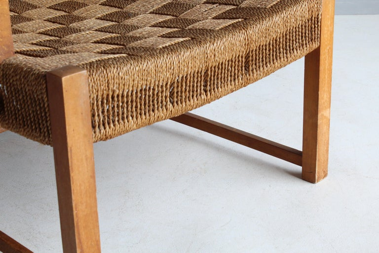 Frits Schlegel 'Attributed', Modernist Lounge Chair, Beech, Cord, Denmark, 1940s For Sale 3