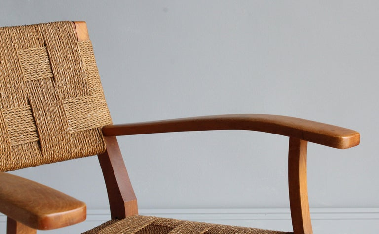 Frits Schlegel 'Attributed', Modernist Lounge Chair, Beech, Cord, Denmark, 1940s For Sale 4