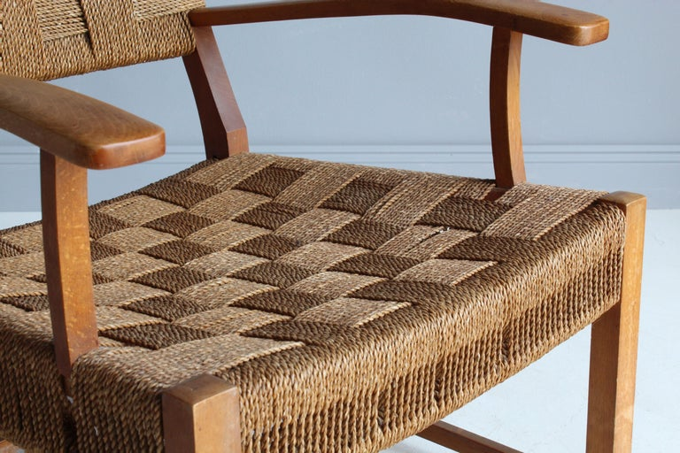 Frits Schlegel 'Attributed', Modernist Lounge Chair, Beech, Cord, Denmark, 1940s For Sale 5