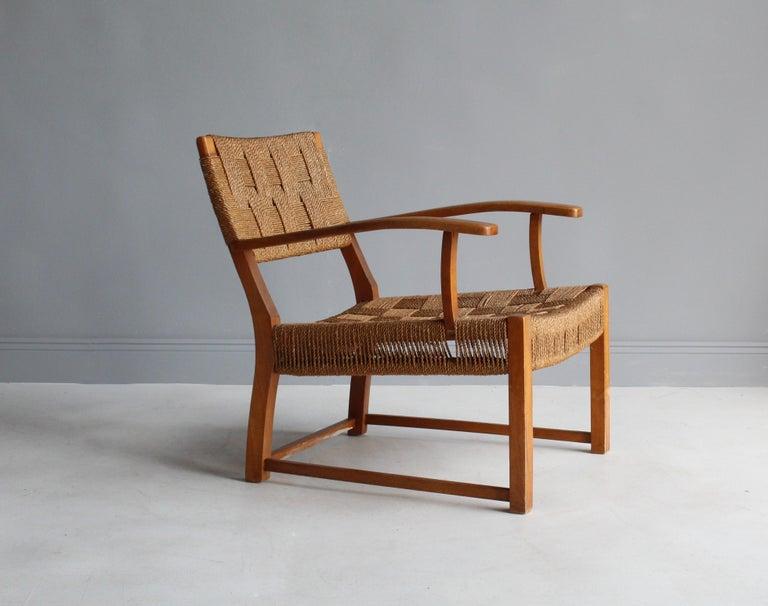 Scandinavian Modern Frits Schlegel 'Attributed', Modernist Lounge Chair, Beech, Cord, Denmark, 1940s For Sale